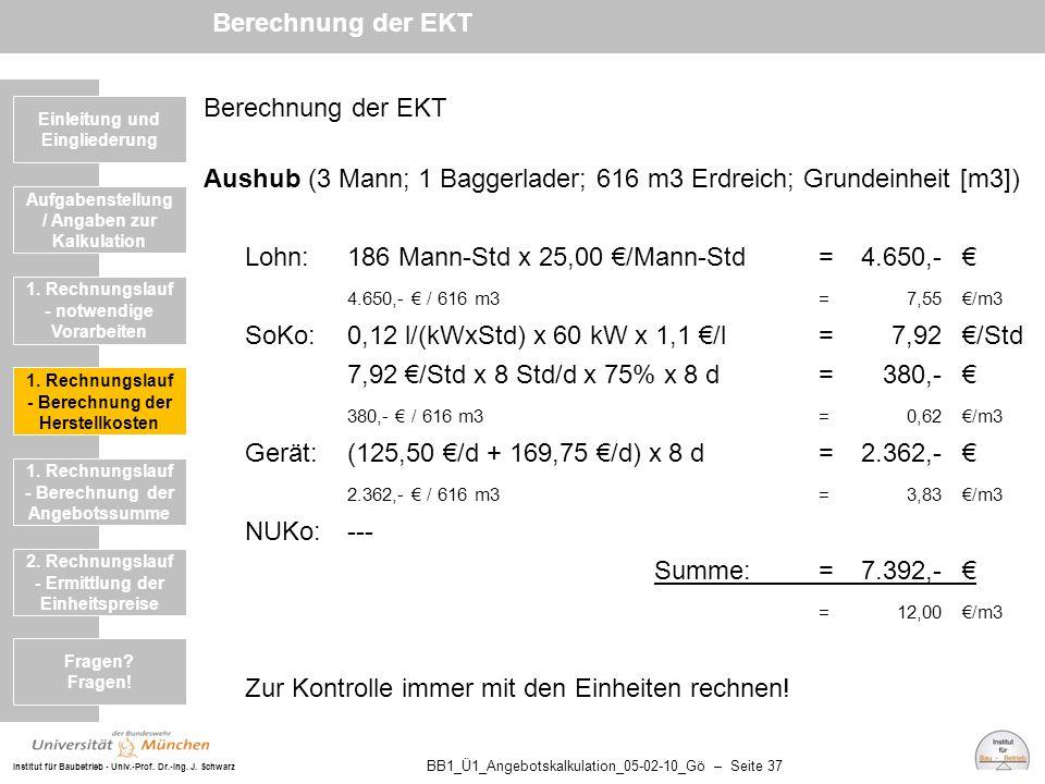 Aushub (3 Mann; 1 Baggerlader; 616 m3 Erdreich; Grundeinheit [m3])